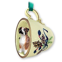 Boxer Brindle w/Uncropped Ears Tea Cup Green Holiday Ornament