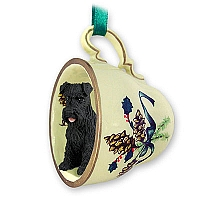 Schnauzer Black w/Uncropped Ears Tea Cup Green Holiday Ornament
