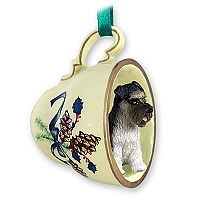 Schnauzer Gray w/Uncropped Ears Tea Cup Green Holiday Ornament