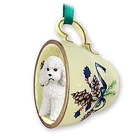 Poodle White w/Sport Cut Tea Cup Green Holiday Ornament