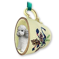 Poodle Gray w/Sport Cut Tea Cup Green Holiday Ornament