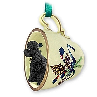 Poodle Black w/Sport Cut Tea Cup Green Holiday Ornament