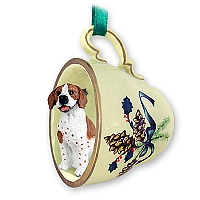 Pointer Brown & White Tea Cup Green Holiday Ornament