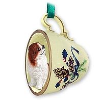 Japanese Chin Red & White Tea Cup Green Holiday Ornament