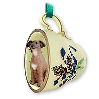 Italian Greyhound Tea Cup Green Holiday Ornament