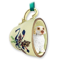 Clumber Spaniel Tea Cup Green Holiday Ornament