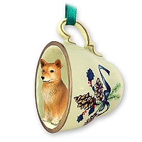 Finnish Spitz Tea Cup Green Holiday Ornament