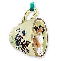 Collie Smoth Hair Tea Cup Green Holiday Ornament