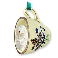 Komondor Tea Cup Green Holiday Ornament