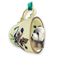 Dandie Dinmont Tea Cup Green Holiday Ornament
