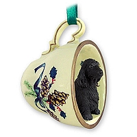 Cocker Spaniel English Black Tea Cup Green Holiday Ornament