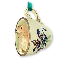 Cocker Spaniel English Blonde Tea Cup Green Holiday Ornament