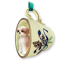Shih Tzu Tan w/Sport Cut Tea Cup Green Holiday Ornament