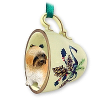 Lhasa Apso Brown w/Sport Cut Tea Cup Green Holiday Ornament