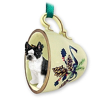 Boston Terrier Tea Cup Green Holiday Ornament