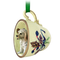 Labradoodle Cream Tea Cup Green Ornament