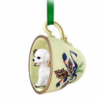 Cockapoo White Tea Cup Green Ornament