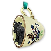 Schnauzer Black Tea Cup Green Holiday Ornament