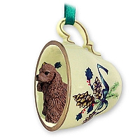 Cocker Spaniel Brown Tea Cup Green Holiday Ornament