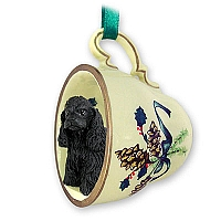 Cocker Spaniel Black Tea Cup Green Holiday Ornament