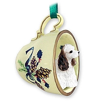 Cocker Spaniel Brown & White Tea Cup Green Holiday Ornament