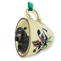 Cocker Spaniel Black & Tan Tea Cup Green Holiday Ornament