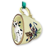 Great Dane Harlequin Tea Cup Green Holiday Ornament