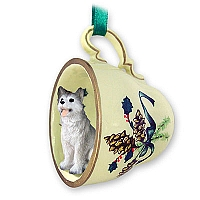 Husky Gray & White w/Brown Eyes Tea Cup Green Holiday Ornament