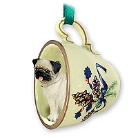 Pug Fawn Tea Cup Green Holiday Ornament