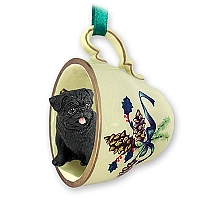 Pug Black Tea Cup Green Holiday Ornament