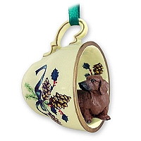 Dachshund Red Tea Cup Green Holiday Ornament
