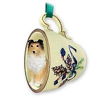 Sheltie Sable Tea Cup Green Holiday Ornament