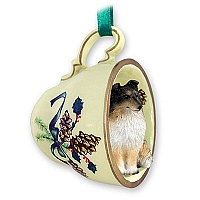 Sheltie Tricolor Tea Cup Green Holiday Ornament