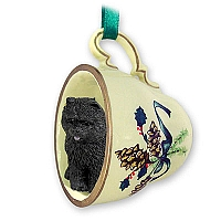 Chow Black Tea Cup Green Holiday Ornament