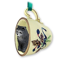 Chow Blue Tea Cup Green Holiday Ornament