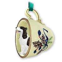 Springer Spaniel Liver & White Tea Cup Green Holiday Ornament