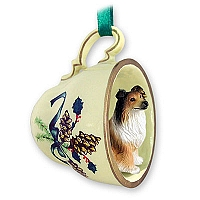 Collie Sable Tea Cup Green Holiday Ornament