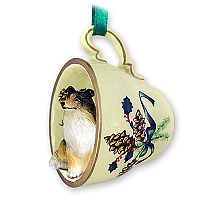 Collie Tricolor Tea Cup Green Holiday Ornament