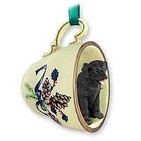 Labrador Retriever Black Tea Cup Green Holiday Ornament