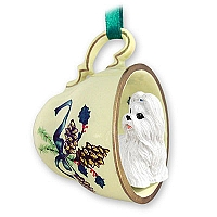 Shih Tzu White Tea Cup Green Holiday Ornament
