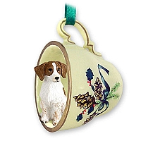 Brittany Brown & White Spaniel Tea Cup Green Holiday Ornament