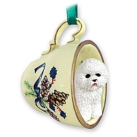 Bichon Frise Tea Cup Green Holiday Ornament