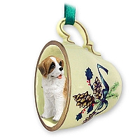 Saint Bernard w/Rough Coat Tea Cup Green Holiday Ornament