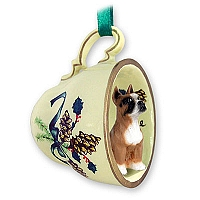 Boxer Tea Cup Green Holiday Ornament