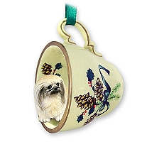 Pekingese Tea Cup Green Holiday Ornament