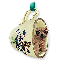 Shar Pei Brown Tea Cup Green Holiday Ornament