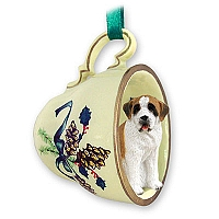 Saint Bernard w/Smooth Coat Tea Cup Green Holiday Ornament