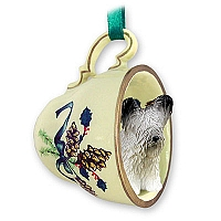 Skye Terrier Tea Cup Green Holiday Ornament