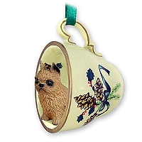 Brussels Griffon Red Tea Cup Green Holiday Ornament