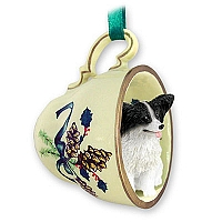 Papillon Black & White Tea Cup Green Holiday Ornament